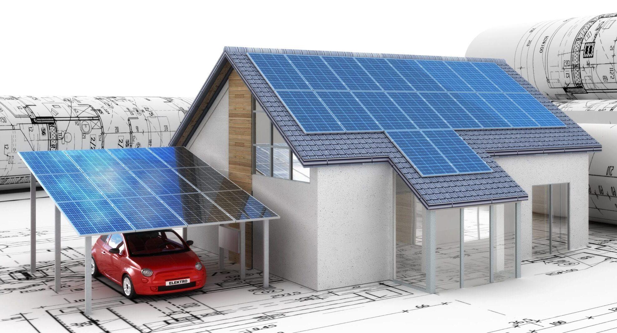 Applicazione di un impianto fotovoltaico al tetto casa e pergola per macchina